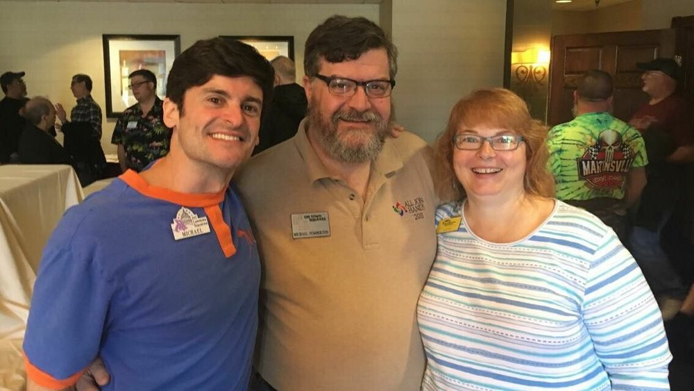 Michael, Michael, and Kathy at the Independence Squares' fly-in, 4/8/2017