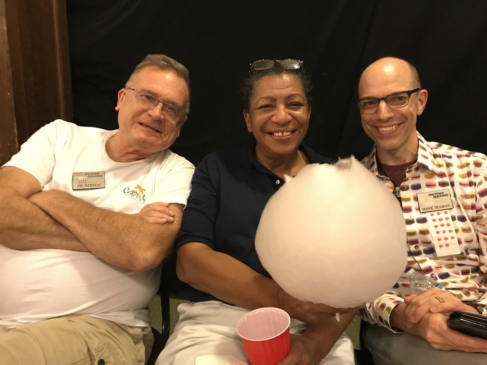 Crossfire 2018! From the left, past president Joe Kerouac, caller Sandy Bryant and caller Mark Seaman.