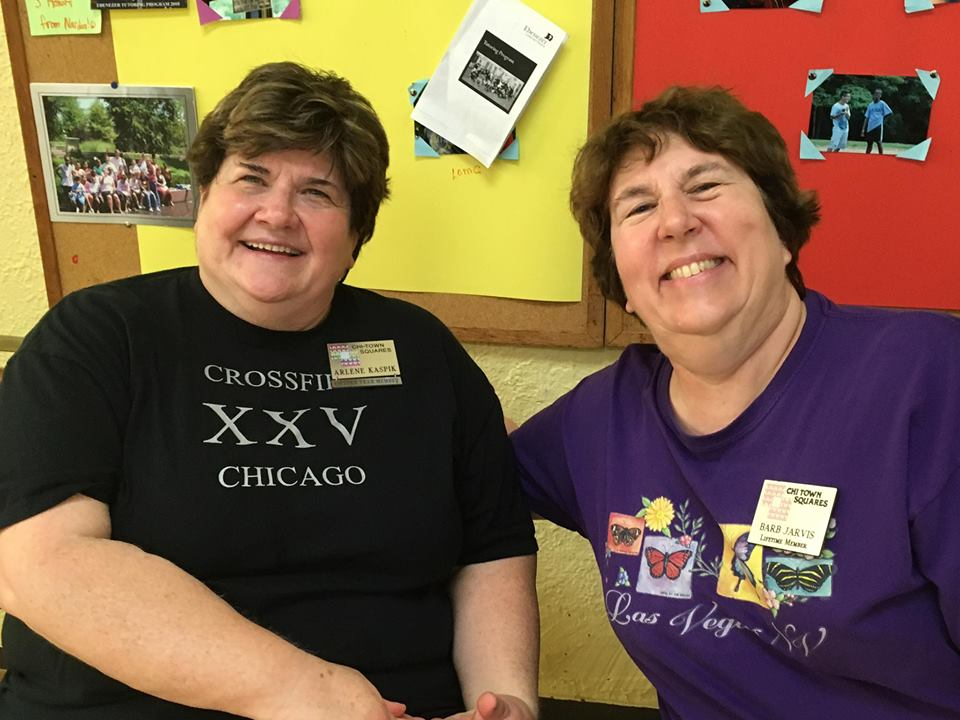 Crossfire 2018! Club Caller Arlene Kaspik and Barb Jarvis enjoying one another's company!
