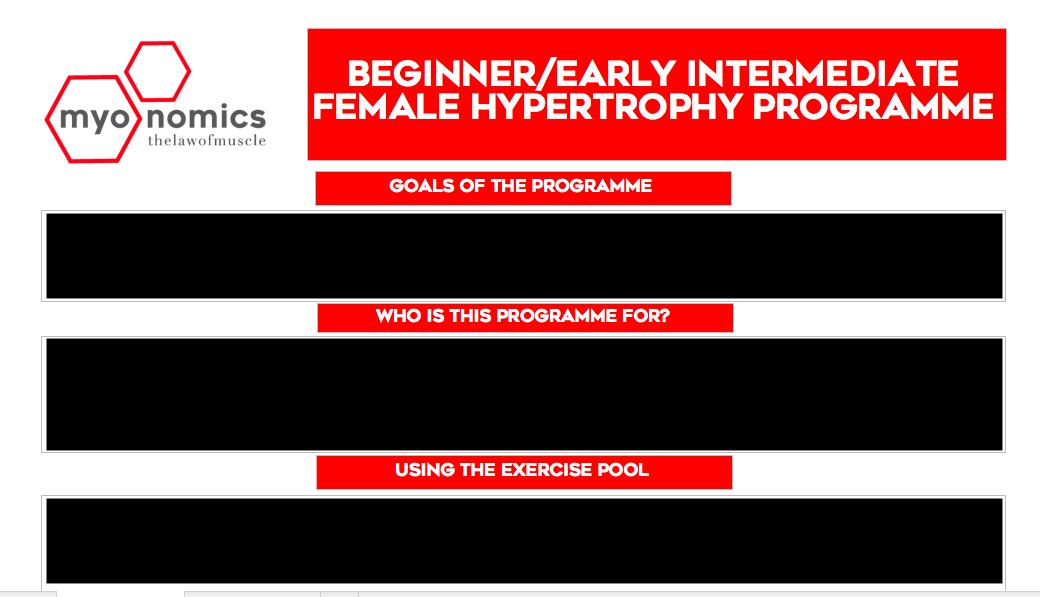 Beginner/Early Intermediate Female Hypertrophy Template — Myonomics