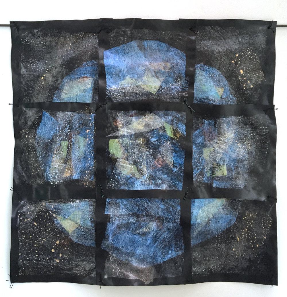 """Vigilance  (2017) painted, fused, and sewn reused plastics, 22"""" x 22"""""""