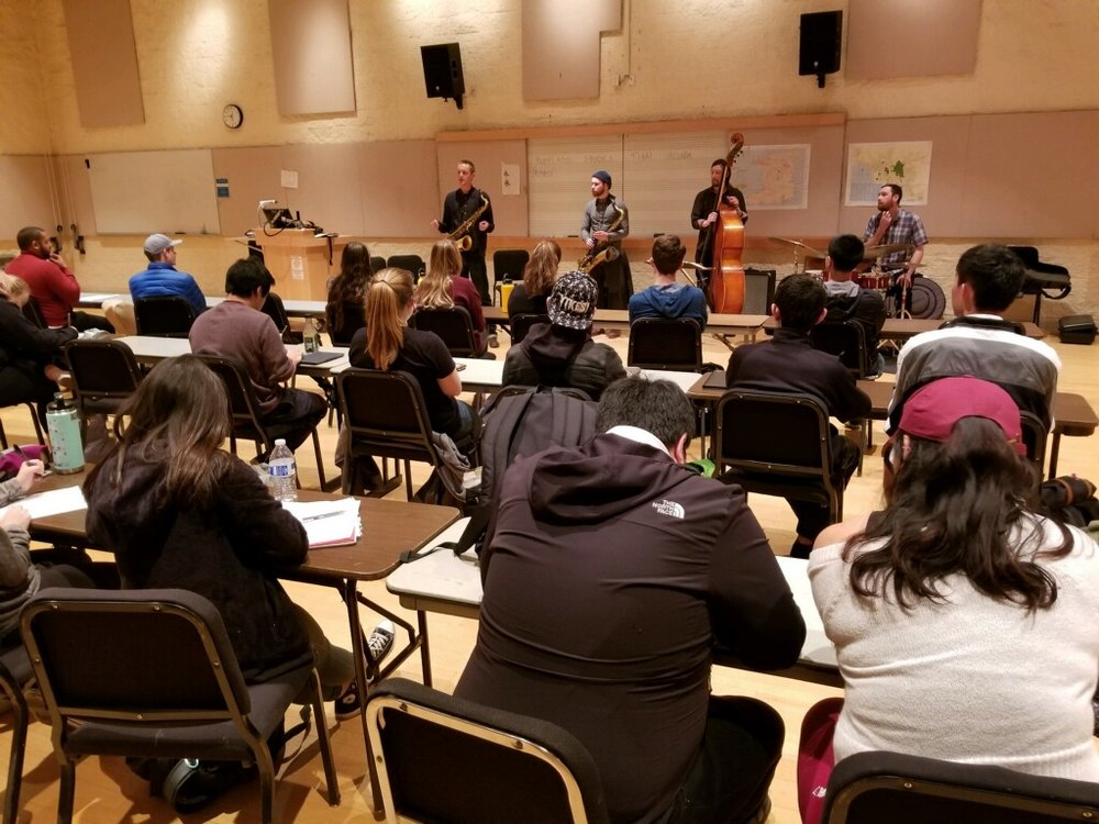 Guest lecturing Professor Gregory Youtz's Intro to Ethnomusicology class at Pacific Lutheran University in March, 2018. Much of our material is influenced and informed by musics from around the world. During our lecture we discussed  paying proper homage vs. cultural appropriation, elements of native Amazonian, Buddhist, and Indian artist practices, and the connection of world musics through improvisation.