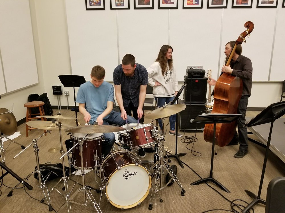Neil and Matt working with jazz ensemble members at Whitworth Universty in Spokane, WA.