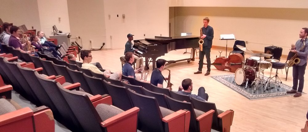 Teaching material by ear to jazz students at Slippery Rock University in Pennsylvania.