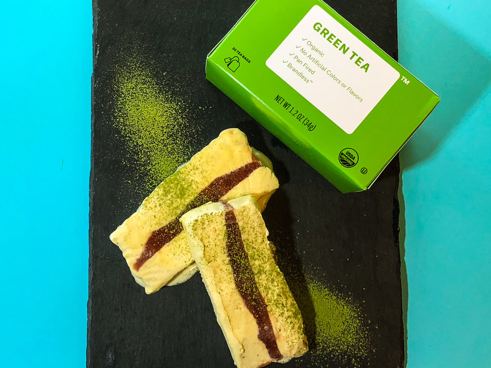 green tea and strawberry semifreddo