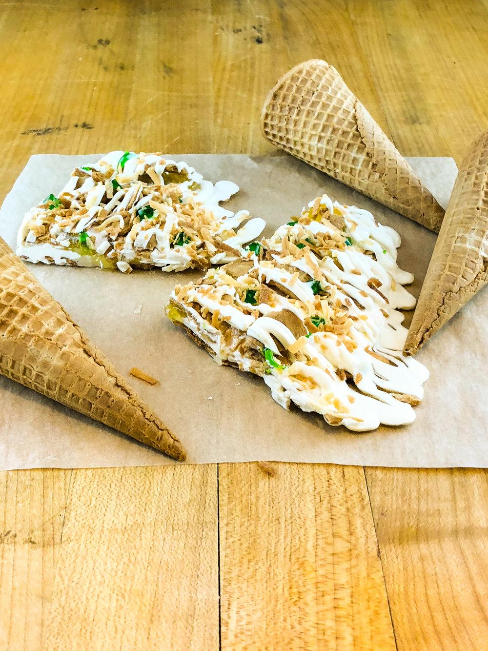 pina colada brittle with ice cream cones