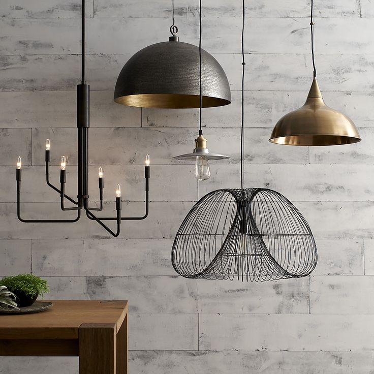Dark metallic lights  -https://www.crateandbarrel.com/ideas-and-advice/lighting-ideas