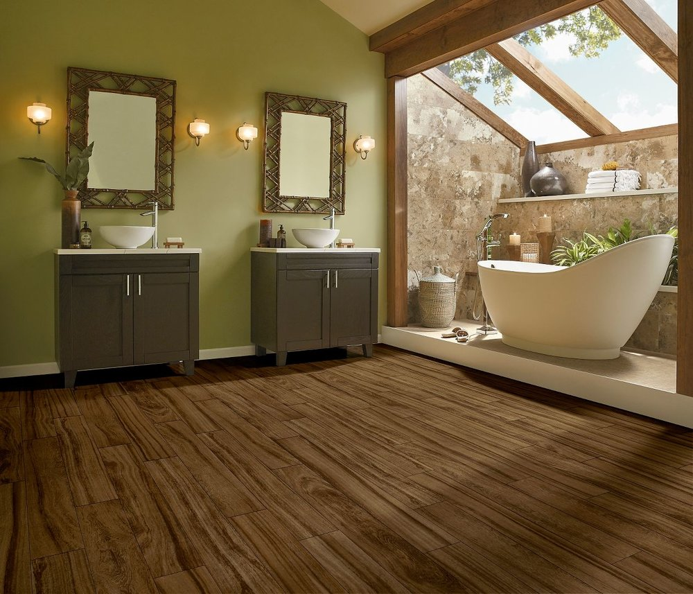Armstrong LVT - Armstrong Luxury Vinyl Tile offers modular flexibility, beautiful designs, and a realistic look to a synthetic surface. Whether you want the look of wood in your bathroom or stone in your entryway, LVT is a versitile product.