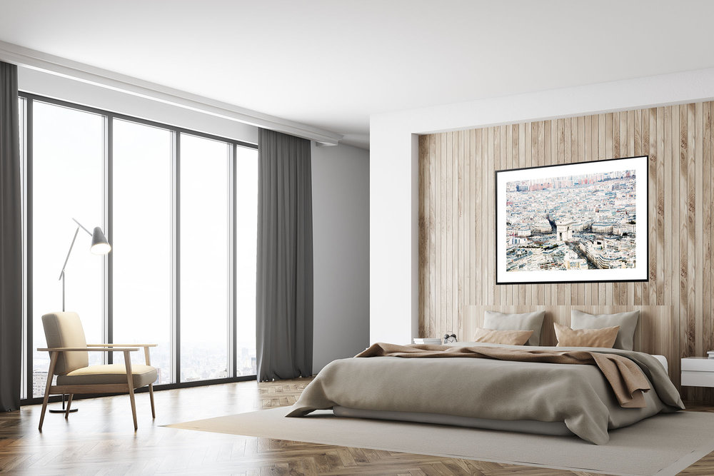 White and wooden bedroom, poster, side