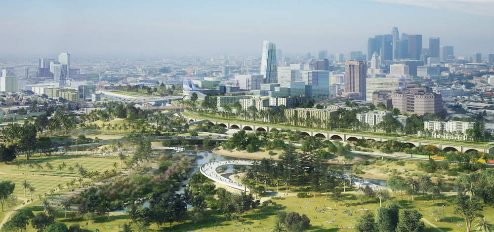 AECOM, a multinational construction and engineering company, released its plan for remaking hundreds of acres of land alongside the Los Angeles River through downtown. The view is from the Piggyback Yard, a 120-acre active rail yard the company would like remake with cleaner trains and a smaller footprint leaving green space for the public AECOM