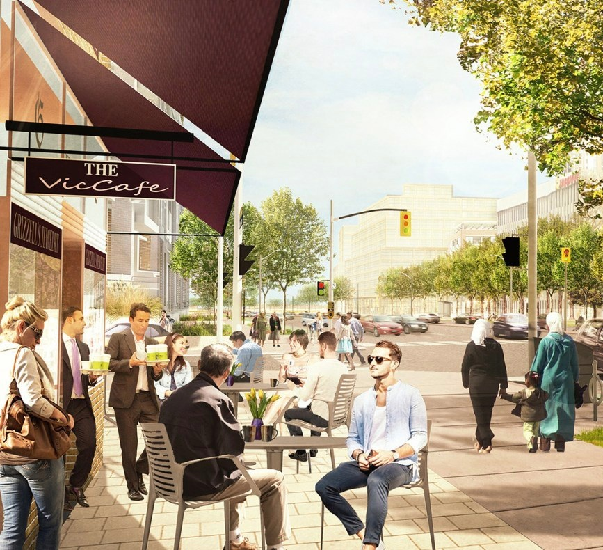 An artist's rendering of a publicly accessible, restaurant and retail uses at Consumers Road Main and Victoria Park Ave. (City of Toronto, DTHA) A major benefit of the project is having more retails space for people to enjoy. Workers currently don't have much variety when it comes to restaurants and cafes. Although some new restaurants have started opening up with the arrival of two new flagship car dealerships. The access to shopping and other services is even more limited so the retail space will be a big improvement.
