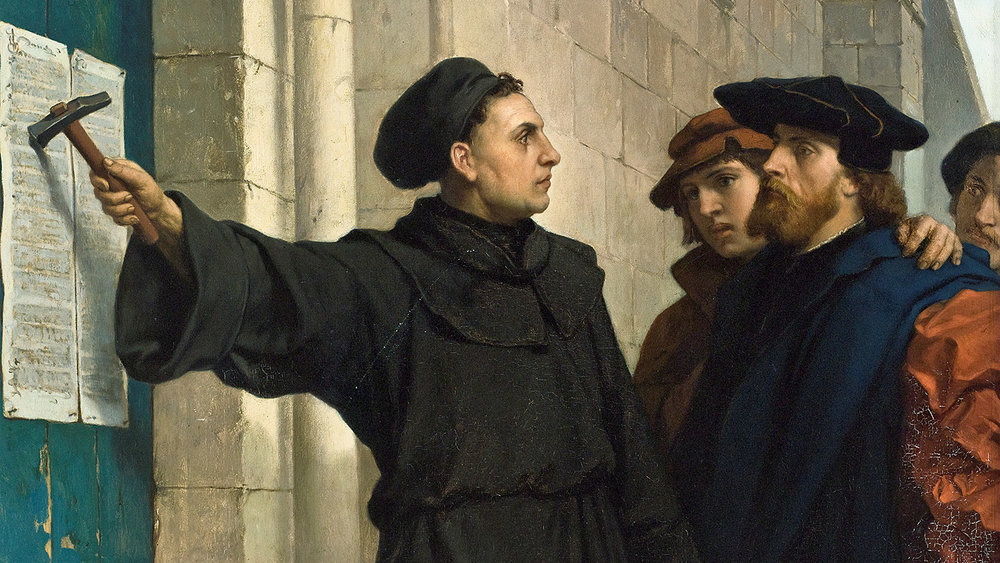 Martin Luther nails his ninety-five theses to the door of the Castle Church in Wittenberg, 1517.