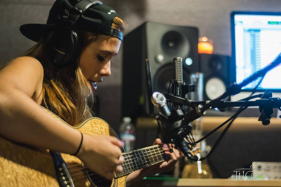"Janelle Phillips | Tracking guitar at Stoopid Records AKA-  ""The Lab"" 2017"