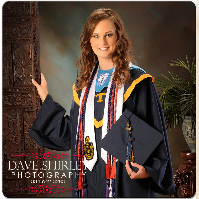 Cap & Gown  - Sitting fee is $50 for studio time.  The payment hold your appt time and date. Its non refundable and non transferred. If you are a no show payment is forfeited. If you you need to change your appt date and time studio will need a 1 week noticed. Portrait print collections start at $99 plus tax. At your portrait session you are welcome to ask for a hard copy print out of our collections. We do offer digital files but most of our clients want professional prints. After your portrait session another appt will be made for you to come back to our studio to view your images and place your order with us. Turn around time to view and order is 1-2 weeks and orders take 2-3 weeks for professional prints.  Thank you Dave Shirley PhotographyCall Dave at 334-642-3283 to book and let him know what kind of photography needs you would like.