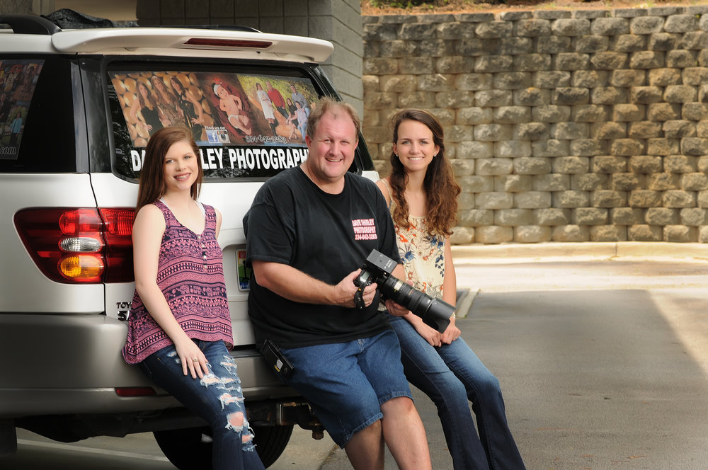 Meet Dave Shirley owner of Dave Shirley Photography Studio that has been in business for over 30 years. In the photo if Dave and two of his senior models during their Senior on location senior sessions.