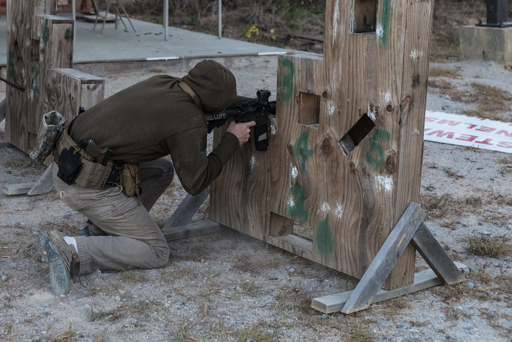 Working on my defensive shooting skills in a Talon Defense Low Light Class.