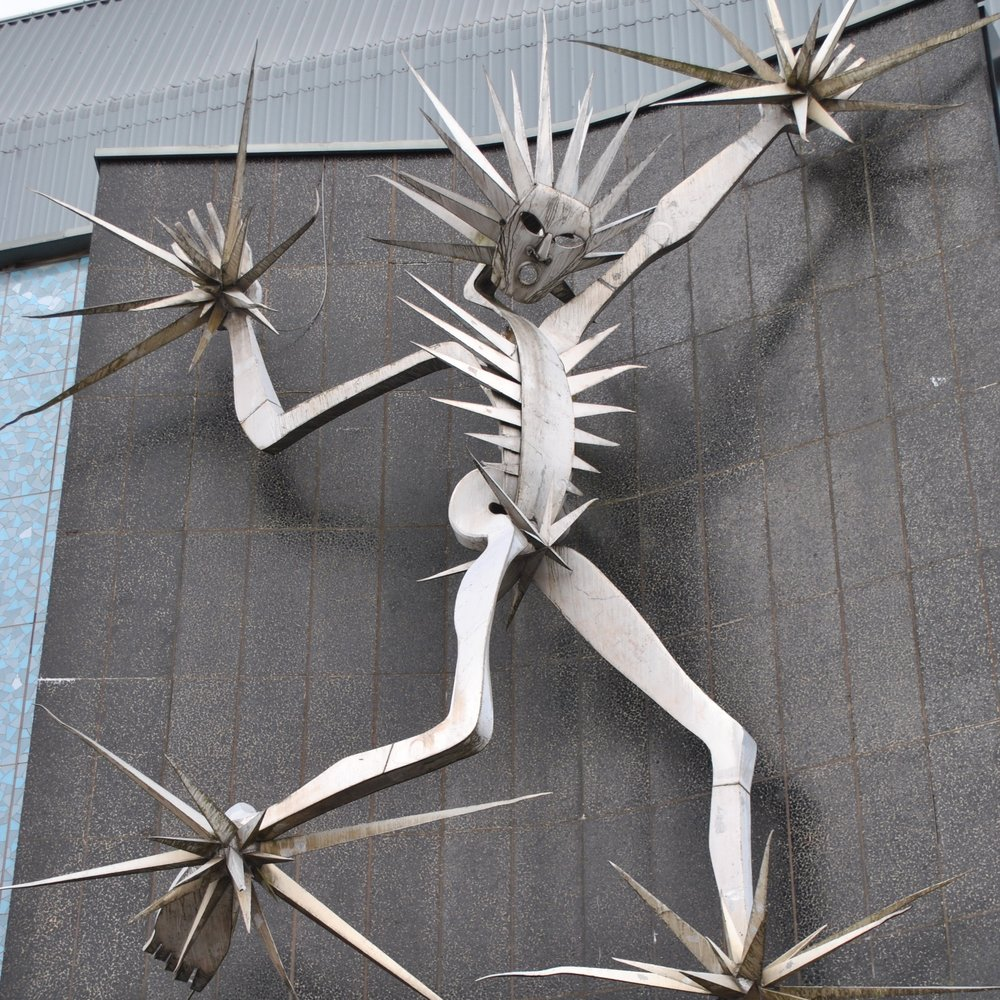 Man of Fire by David Wynne (1964). Lewis's Department store, Hanley Stoke-on-Trent. For many people it will always be the 'Jack Frost' sculpture. Photo: Dave Harper