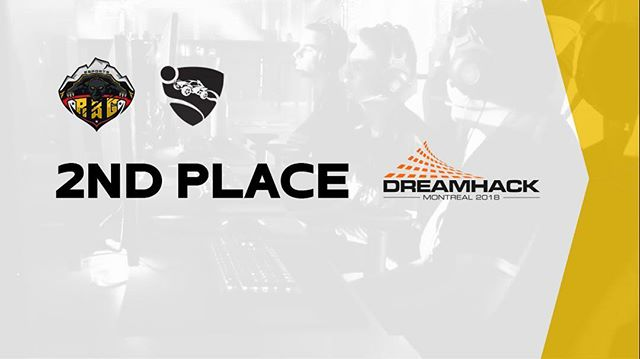 We're very proud that our #RocketLeague squad took 2nd place yesterday at the #dhmtl18 BYOC Rocket League. Their first time playing at LAN and main stage and they made it look easy! Next year we're going for gold!