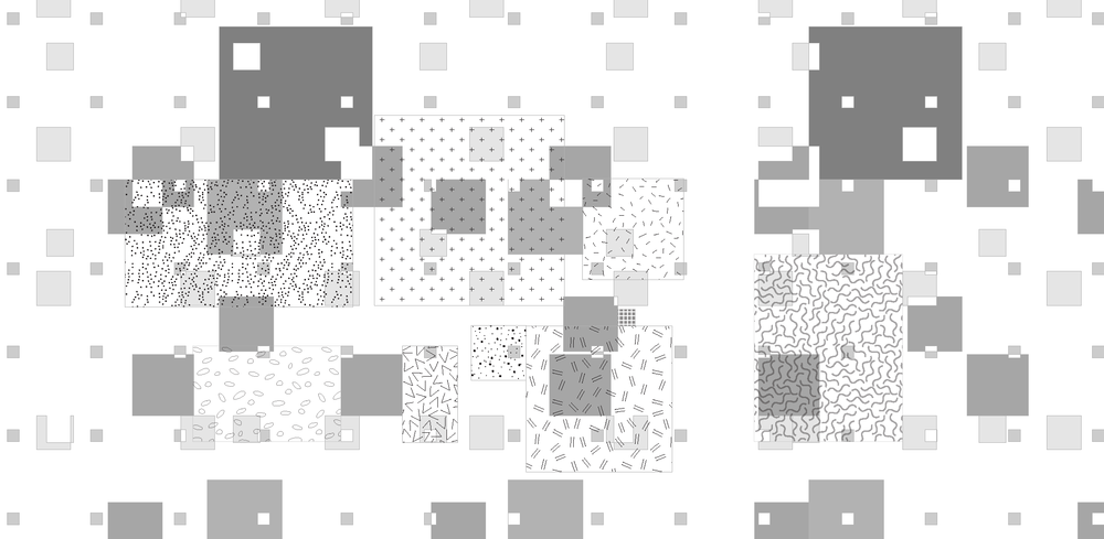 Conceptualized distribution of workspaces in a field of distributed amenities
