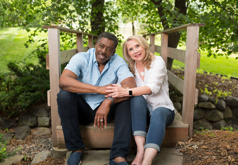 Actor Ernie Hudson and his wife photographed at home