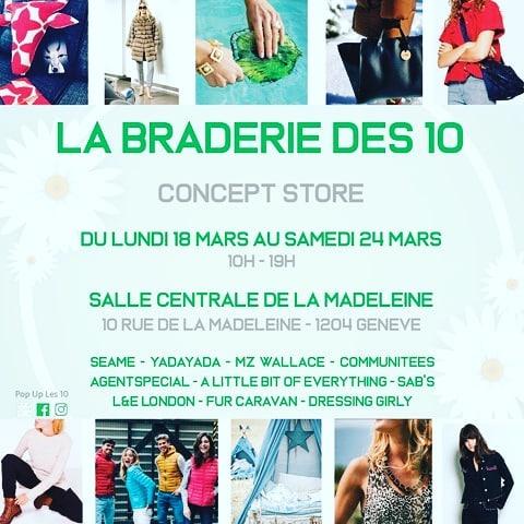 ❗❗❗Dès aujourd'hui découvre notre destockage lors de la #braderiedes10 à la Salle Centrale (Genève). ❗❗❗ - -  Un Concept Store composé de différents exposants (prêt-à-porter, accessoires, bijoux, baby store). DES PRIX CASSES - - 👕 T-Shirts 20.- (Superdry, Pepe Jeans, ONLY, ...) 🥼 Vestes 100.- (JOTT, ...) 👚 Sweaters 50.- (Tommy Jeans, Superdry, Hollister) - - #Communitees #conceptstore #destockage #geneve #braderie @seame.paris.geneve @yadayadababystore @mzwallacesuisse