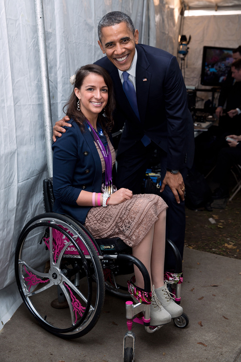 Victoria Arlen with President Obama after the 2012 London Paralympic Games