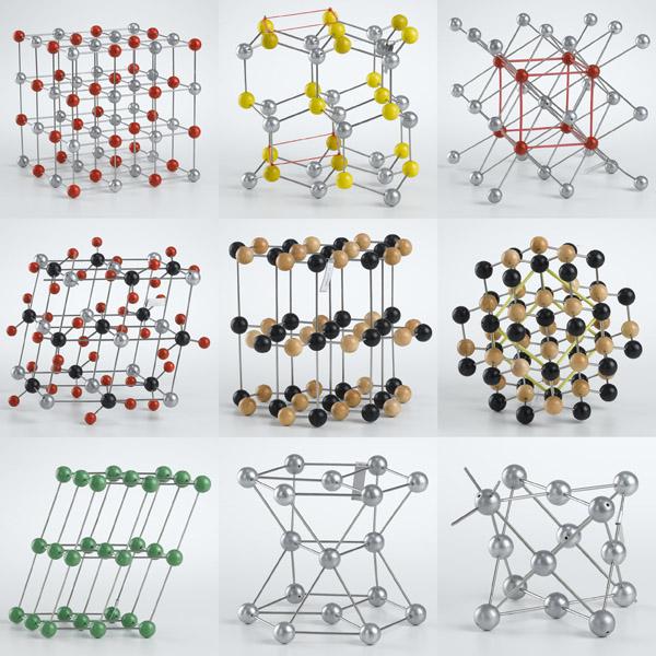 Rock salt, wurtzite, cesium chloride, calcite, graphite, diamond, generic triclinic, magnesium, and copper.