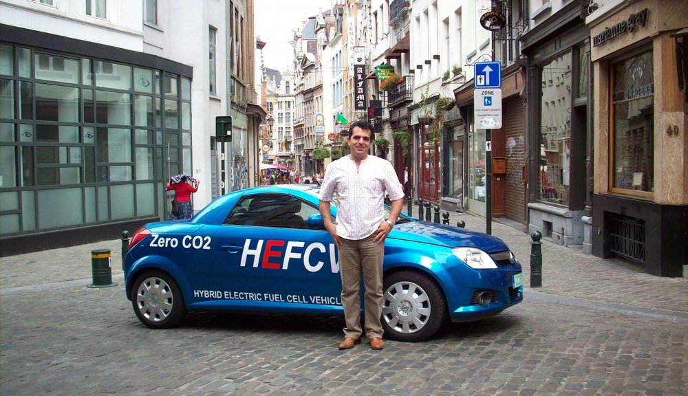 Hybrid Electric Fuel Cell Vehicle part of E4 program presented at AVERE International advanced mobility forum Geneva Motor show 2008.( Picture: Mr.Arian with HEFCV OPEL TIGRA in city of Brussels-2008)