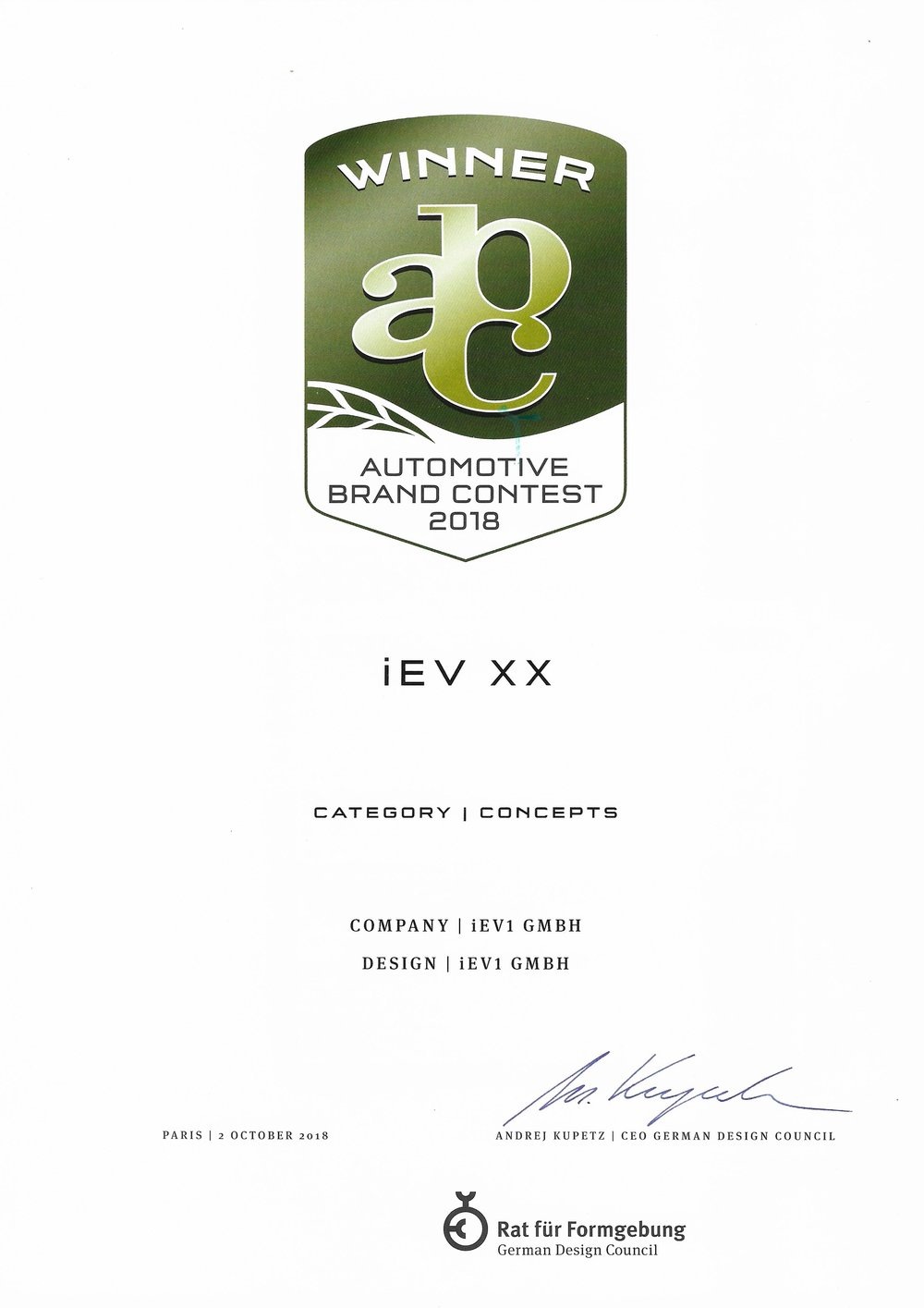 iEV XX WinnerAutomotive Brand Contest - iEV XX CATEGORY Concept winner Automotive brand contest 2018