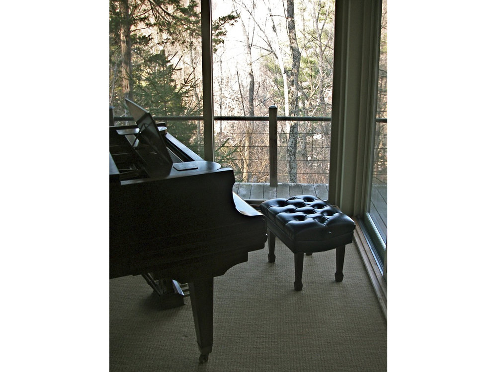 The view is soothing from the 5' 8'' Mason and Hamlin grand piano.