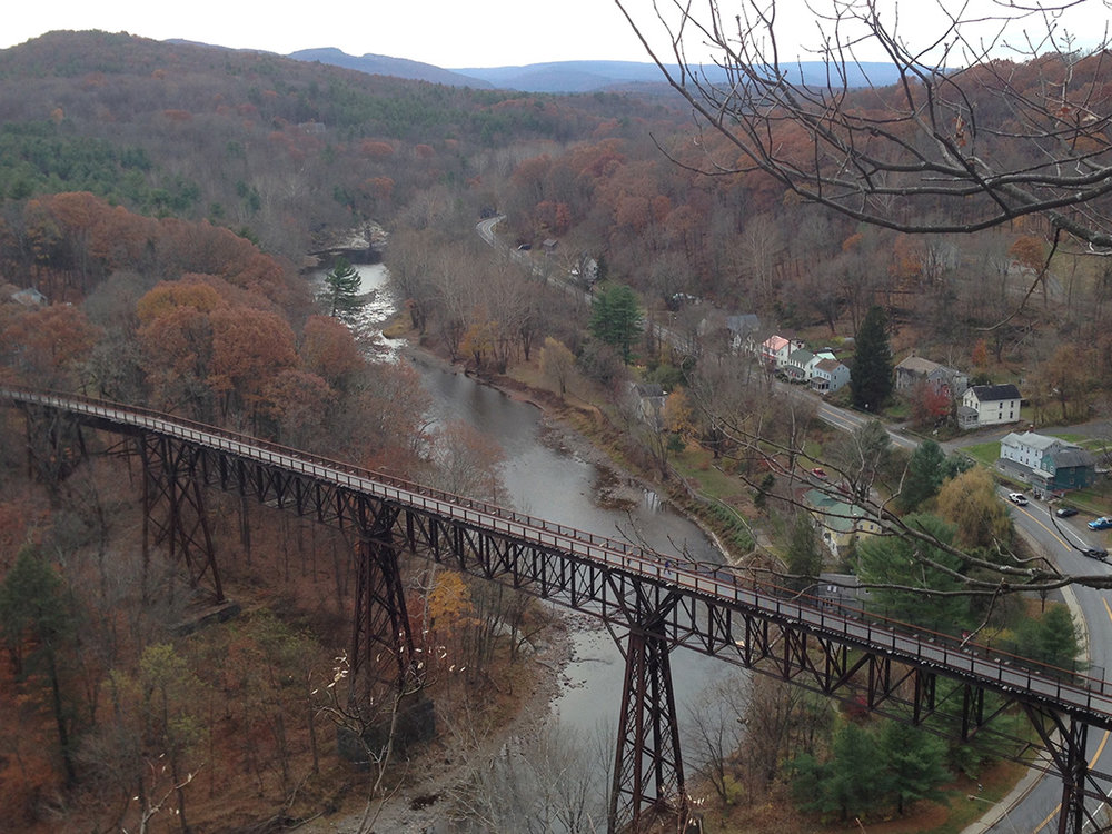 The nearby Rail Trail crosses the Rondout on the iconic Rosendale trestle.