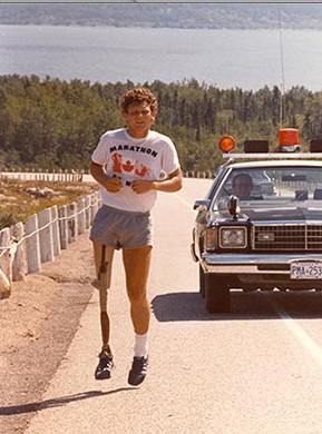 Terry Fox attempts to run across Canada in his Marathon of Hope to raise money for cancer and wins the hearts of the nation.