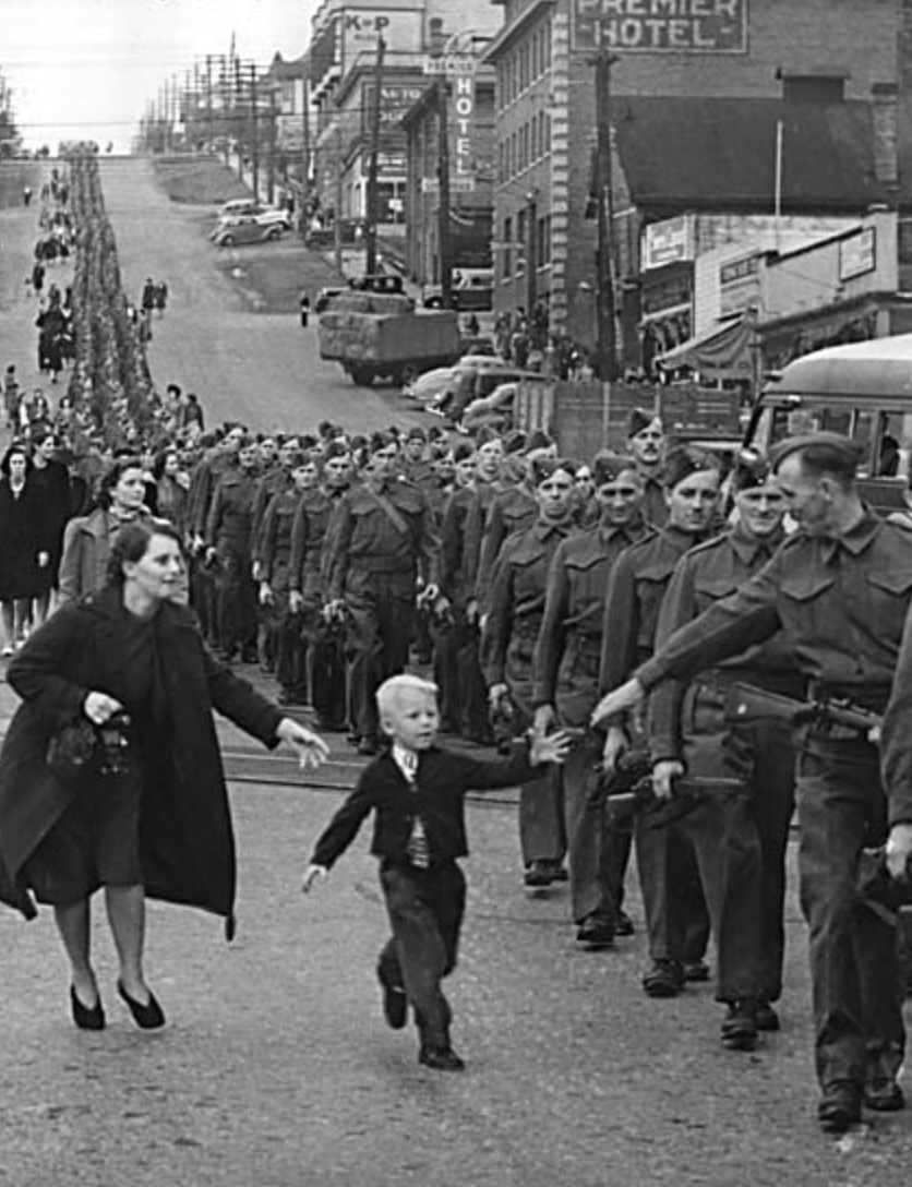 Canadian troops march off to war in New Westminster, BC.  1940