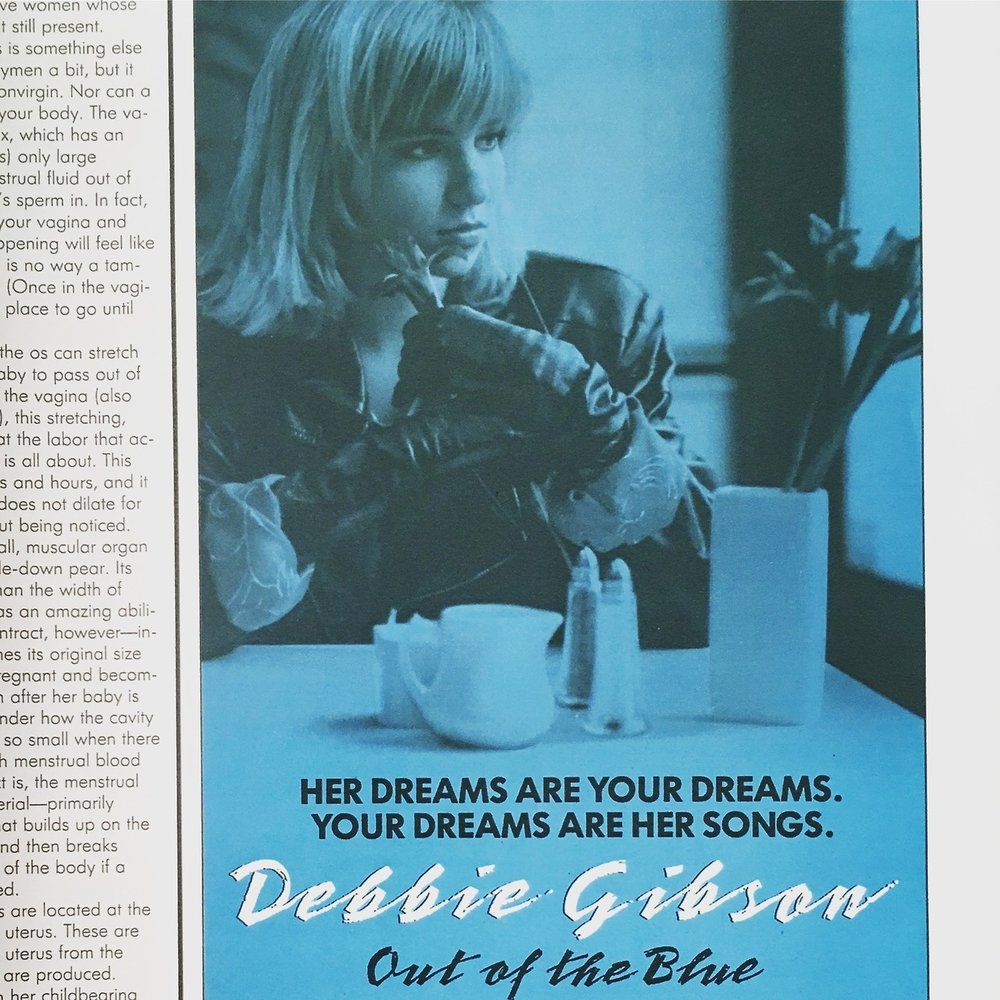"Detail of an ad for Debbie Gibson's first album, ""Out of the Blue.""  Seventeen. July 1988.  I will admit that this cassette was totally played on repeat that summer, which was just before I started high school."
