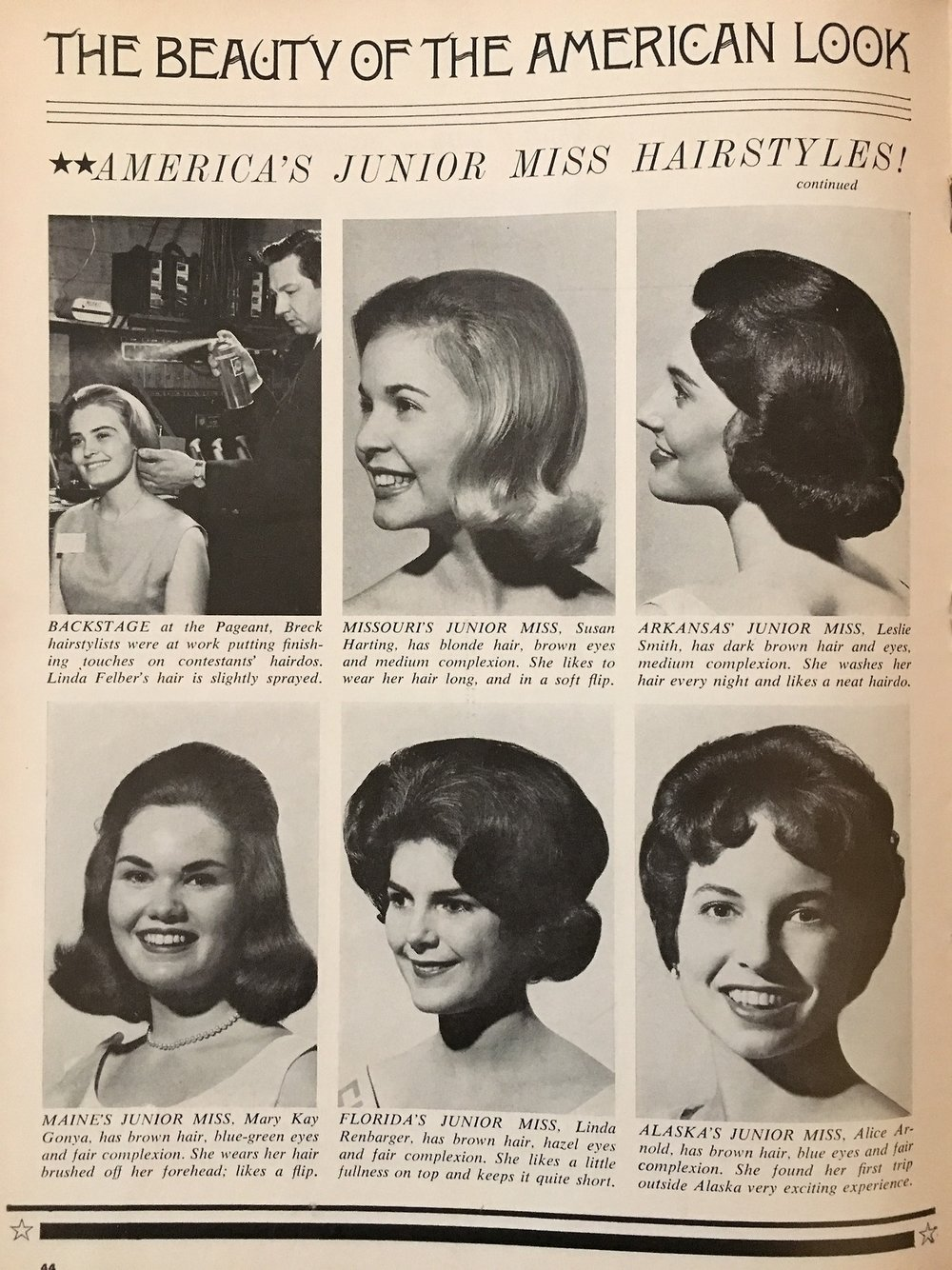 The Beauty of the American Look. America's Junior Miss Hairstyles. 'Teen Magazine. July 1964.