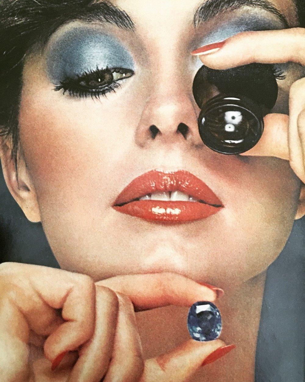 Revlon Colorfrost eyeshadow. Vogue. June 1978