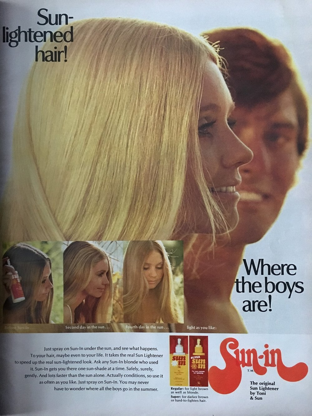 "periodicallyvintage""Sun lightened hairs- where the boys are!"" Sun-In Hair Lightener.    Seventeen Magazine. June 1971."