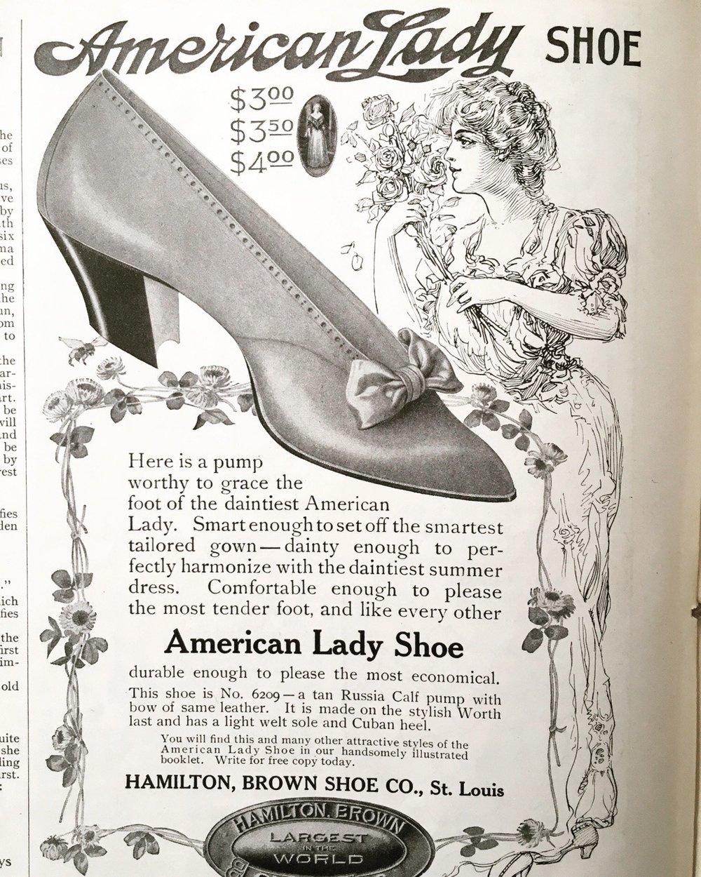 American Lady shoe. Ladies' Home Journal. June 1908.