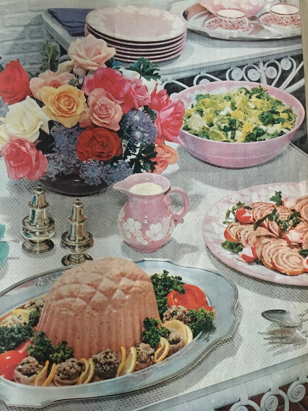 """Summer Garden Buffet"". Ladies Home Journal. June 1957. Yesterday's prompt was ""Starts with F"" so I decided to go with food and flowers from the fifties!"
