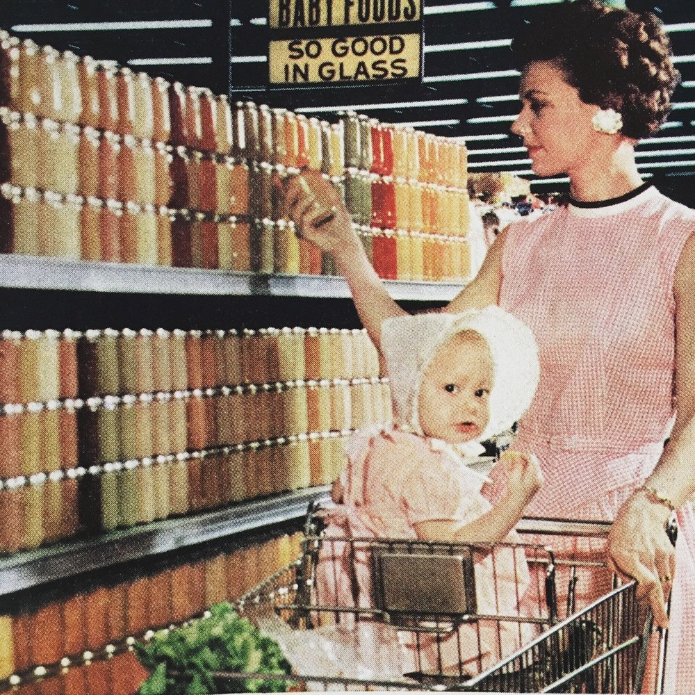 """""""How modern mothers fell in love with glass jars…and Wyandotte helps make better glass.""""     Wyandotte Chemicals ad detail.     Fortune Magazine. June 1959."""