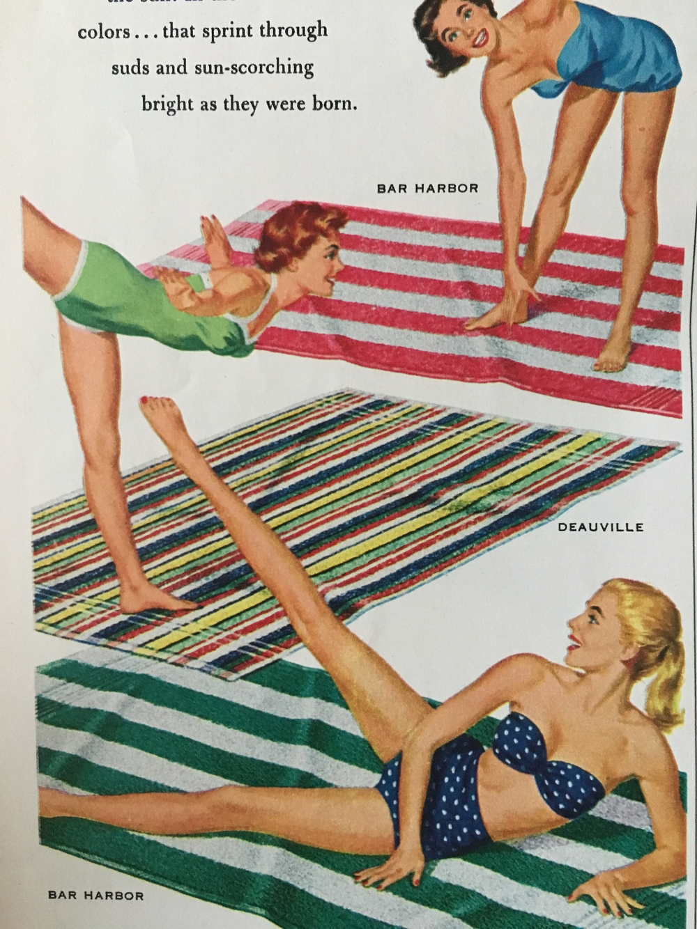 Dundee Beach Sheets ad detail.     Woman's Day. June 1954.