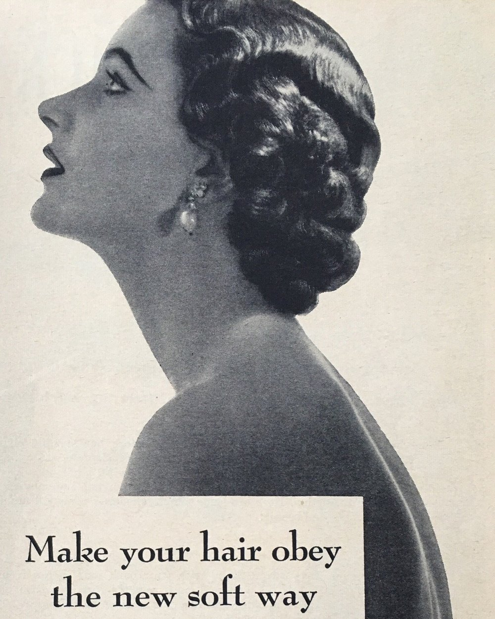 """Make your hair obey the new soft way"" Suave. True Story. June 1953."