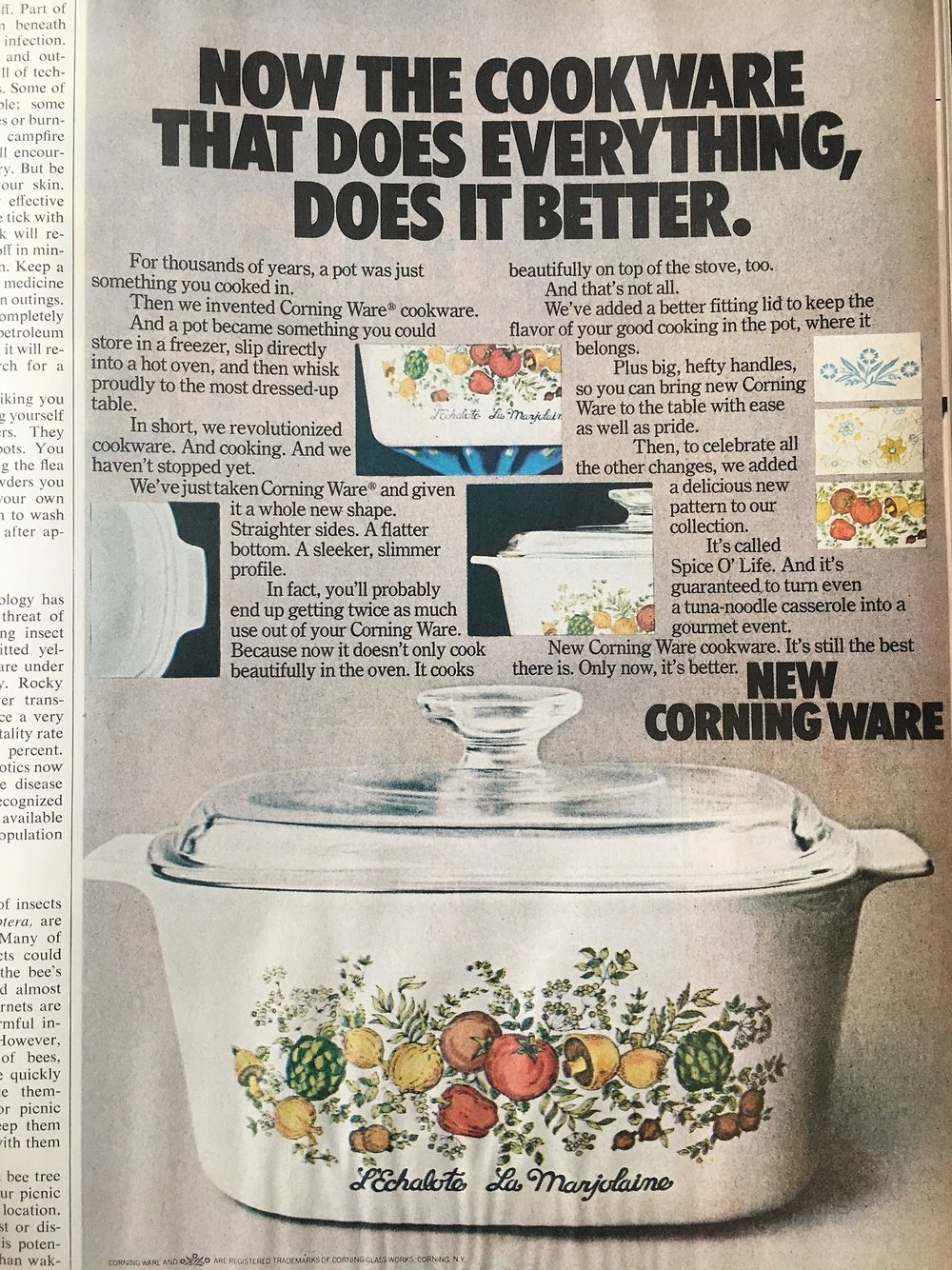 Corning Ware announcing new changes and the new Spice O' Life pattern. Better Home and Gardens. June 1974. In 1972, Corning Ware made some changes to the original design and decided to add some new patterns alongside the iconic blue cornflower design. Although this ad ran in 1974, Spice O' Life (also known as French Spice) was introduced in 1972 and if you grew up in the '70s and '80s, it's pretty much a guarantee that someone in your family had this pattern. Spice O' Life was in production until 1987 and is the second most sought after pattern among collectors. Personally, I own the very rare, but very '70s folk-art inspired Country Festival pattern.