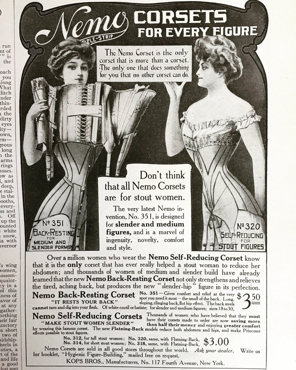 Nemo Corsets.   Ladies' Home Journal. May 1908.