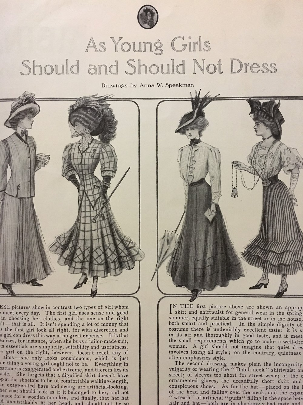 As Young Girls Should and Should Not Dress.   Ladies' Home Journal. May 1908.     Earlier this month, I acquired a library bound edition of issues from Ladies' Home Journal from 1908. It's pretty fascinating to read through the articles and look at the ads in these.