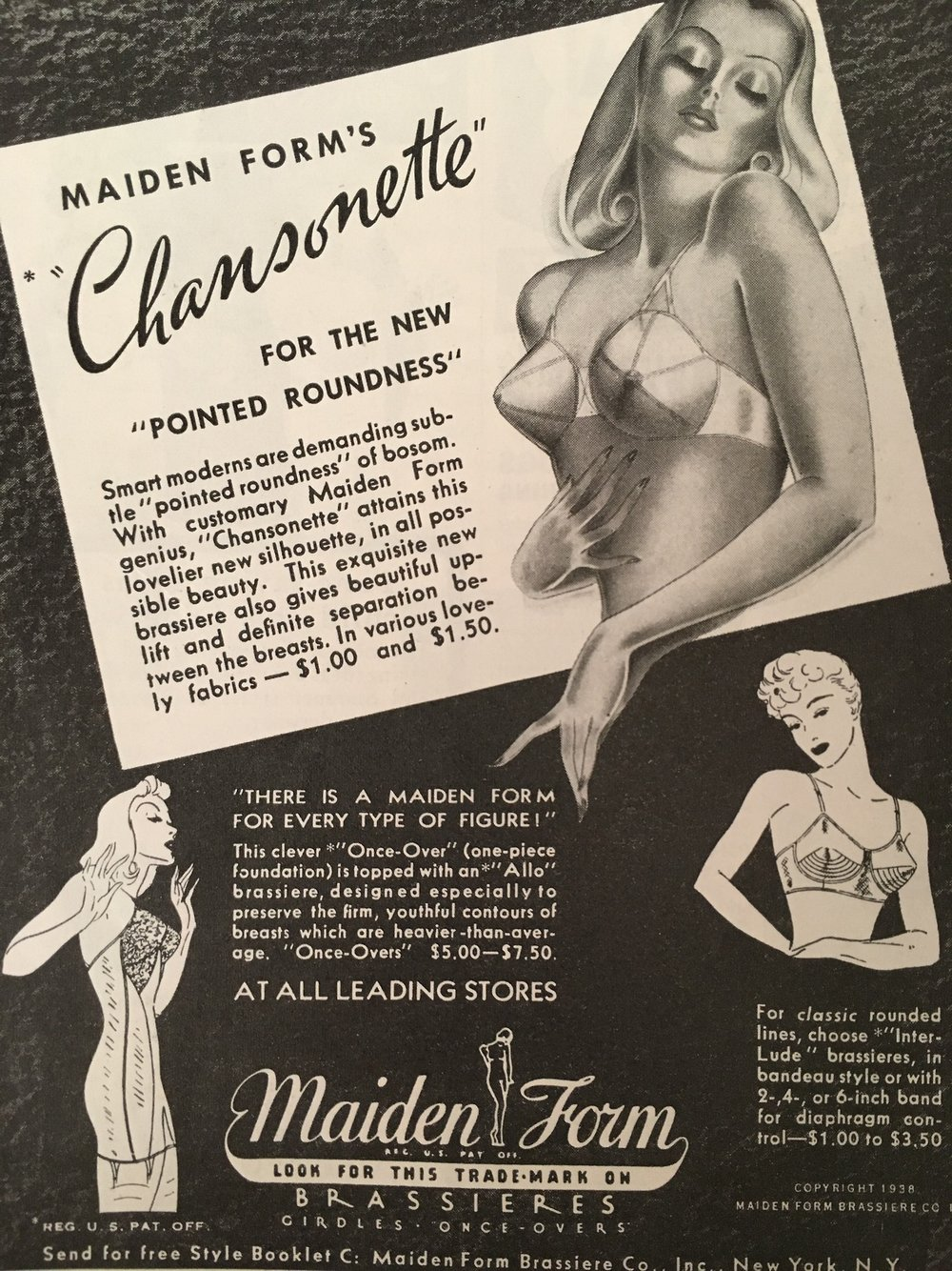 "Maidenform Chansonette bra.   For the new ""pointed roundness""    Woman's Home Companion. May 1938."