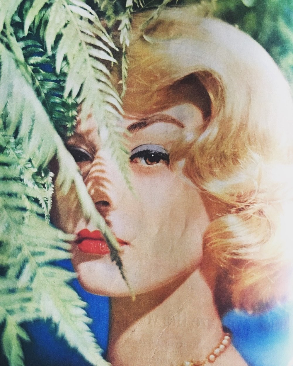 Detail of Du Barry Color Glo ad featuring model Jean Patchett.   Ladies' Home Journal. May 1957.