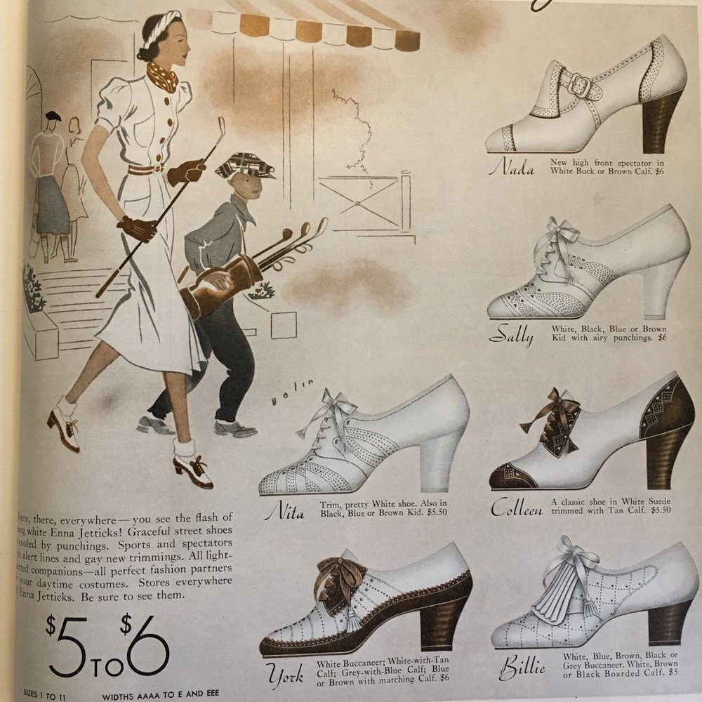 Detail of an Enna Jetticks shoe ad. Woman's Home Companion. May 1938.