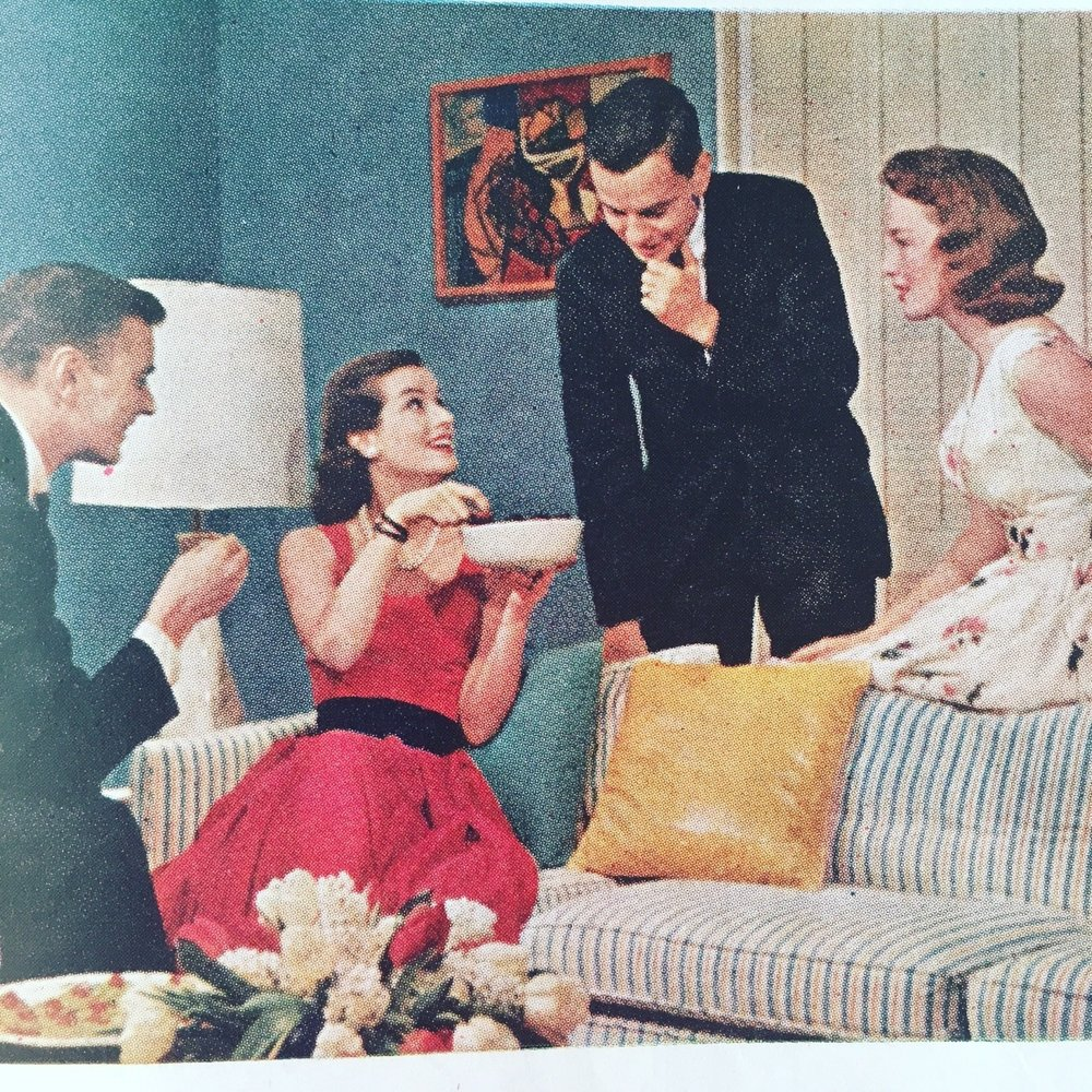 """Conversation Piece"" - an article on entertaining.   Ladies' Home Journal. May 1957."