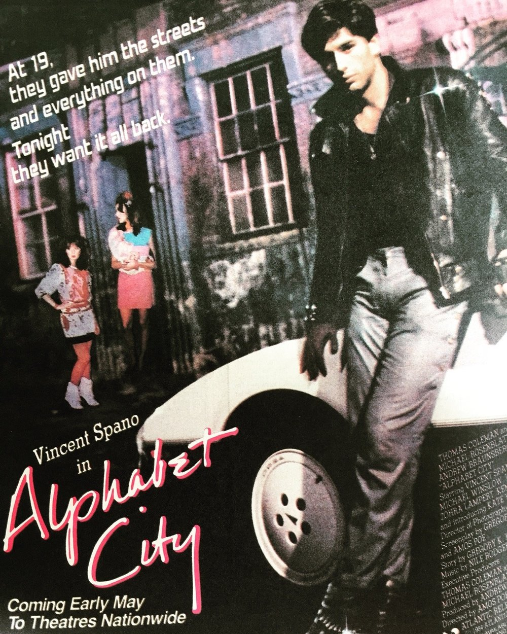 Alphabet City.  Rolling Stone. May 10, 1984.  Alphabet City was one of those gritty NYC crime dramas based in the pre-gentrified East Village. It was produced by Amos Poe, who also directed the 1976 classic punk documentary, The Blank Generation.
